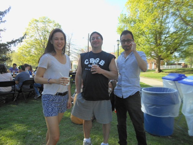 Prof. Fein with students at the picnic