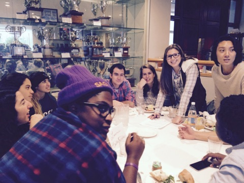 Psychology Senior Seminar class at the end of semester lunch